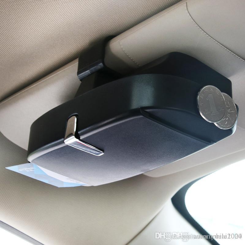 법안 마그네틱 카드 홀더 다기능 자동차 안경 케이스 일 바이저는 카드 슬롯과 선글라스 상자 플라스틱 안경 상자 ABS 클램프