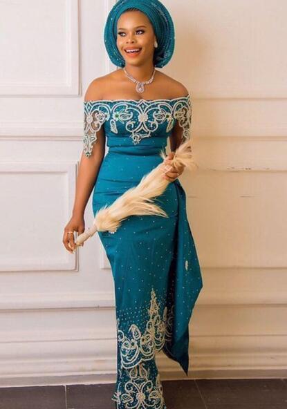 Aso Ebi Teal Mermaid abito da sera 2020 fuori dalla spalla merletto in rilievo di Applique ricamo Prom Dresses africano Nigeria Plus Size abiti del partito