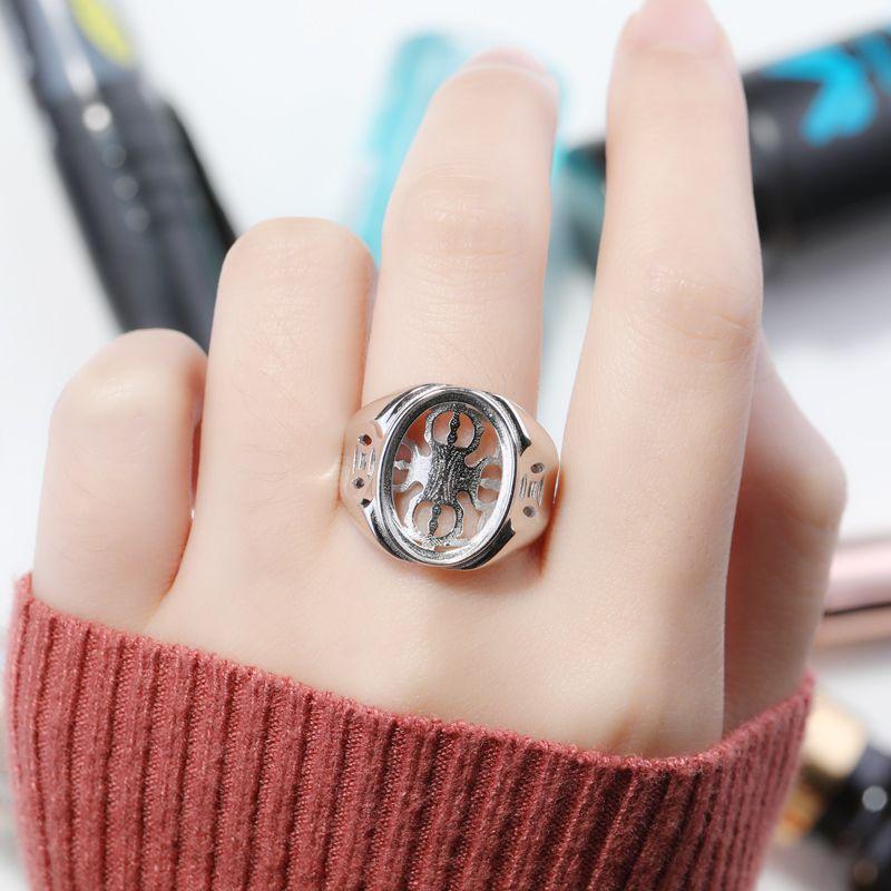 Стерлингового Серебра 925 Женщин Обручальное Обручальное Кольцо 13x17 мм Овальный Кабошон Полу Маунт Кольцо подходят Янтарный Опал Гранат Установка Оптовая