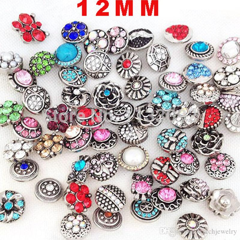 Luxury Designer Jewelry Free Shipping 100pcs Noosa 12mm Snap Buttons Mixed 12mm Snap Bracelets DIY Jewelry Accessories Snap Buttons