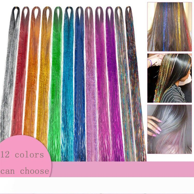 24inch Tinsel Hair Extensions 12 Colors Sparking Shinny Hair For Party 200 strands piece 12pieces lot Synthetic Hair Extension Accessories