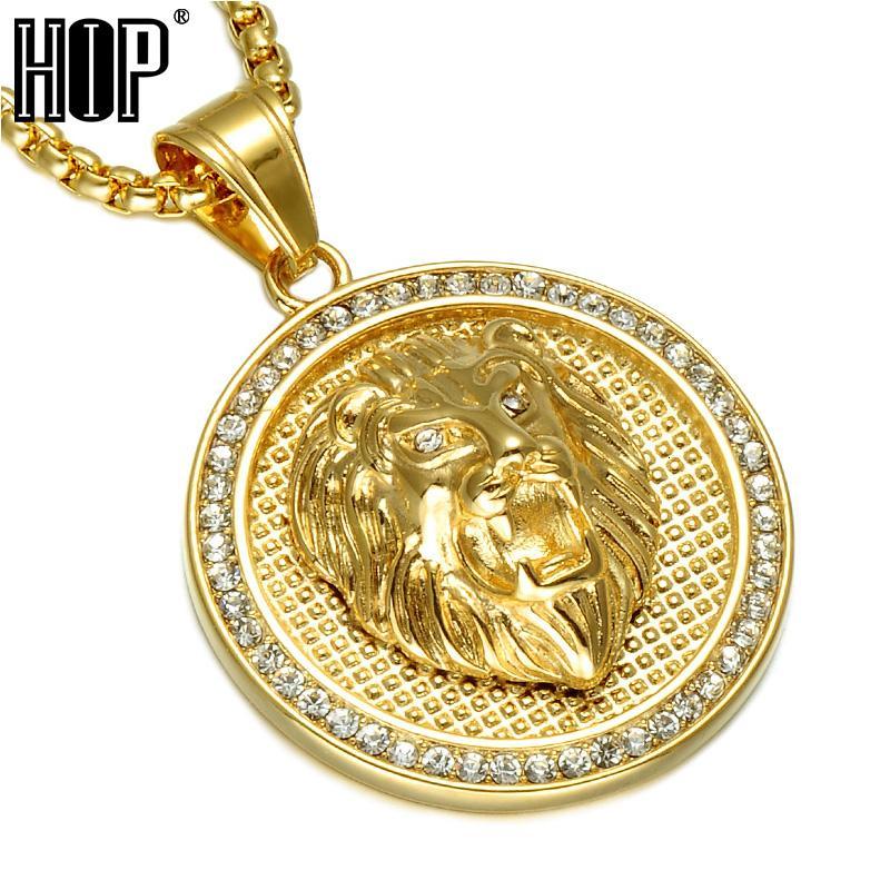 Acero de Hip Hop de hielo fuera del color oro de titanio inoxidable Rhinestone Pave la cabeza del león de los colgantes Hombres V191129 joyería