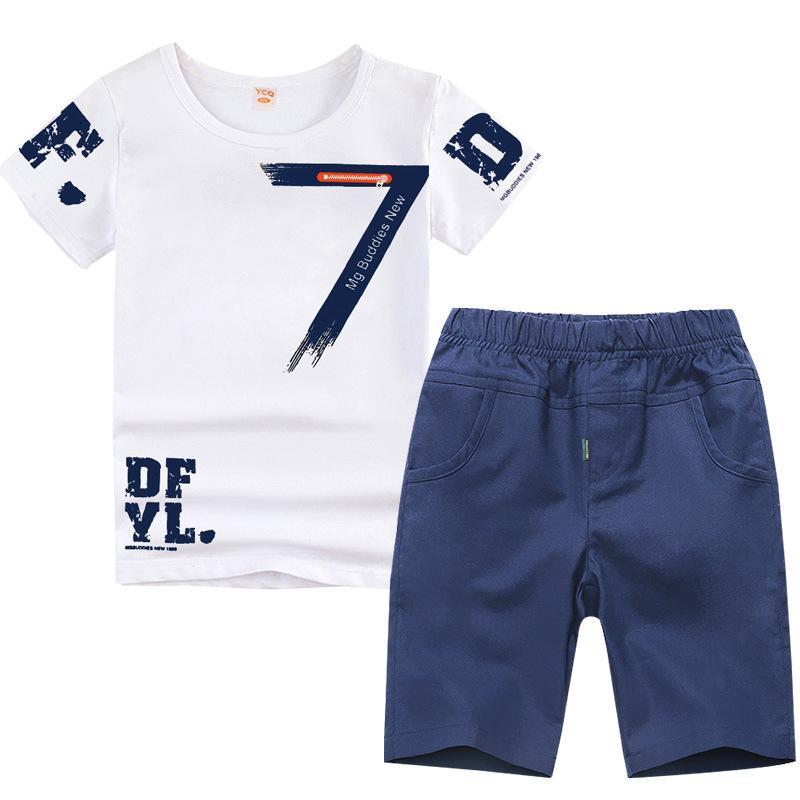 3-14y Ropa de gran tamaño para niños Ropa para niños Ropa de verano 2018 Conjuntos de ropa de verano para niños Ropa de manga corta para niños J190513