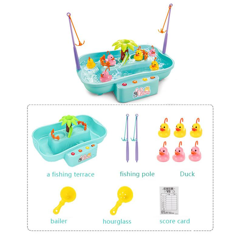 Newly Children Water Toys Electric Rotating Music Multi-Function Hydrodynamic Cycle Fishing Pole Rod Toys For Children g