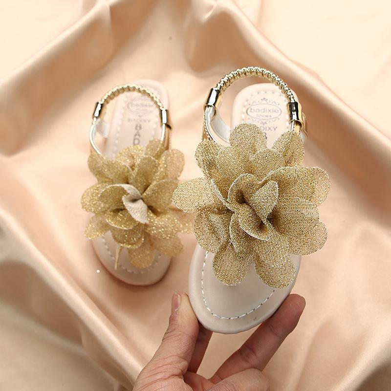Girls Sandals 2020 Summer New Bohemia Flowers Baby Fashion Soft Students Shoes Kid's Cool Slippers Pink Thong Flats single CX200706