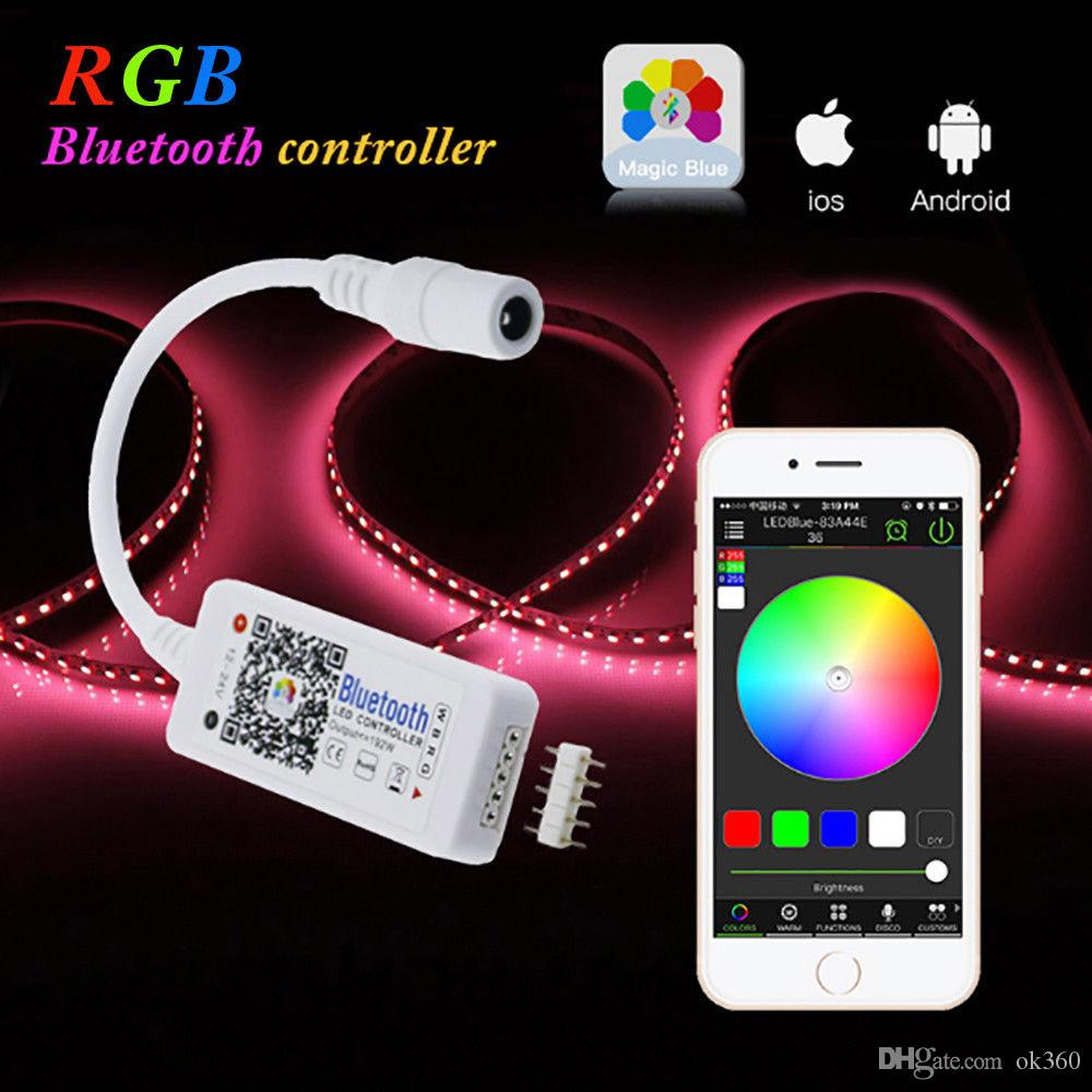 DC 12V Mini WIFI LED RGB Controlador 4 Channel Bluetooth RGBW Led Controlador APP Para 5050 3528 RGB / RGBW Faixa de LED Light
