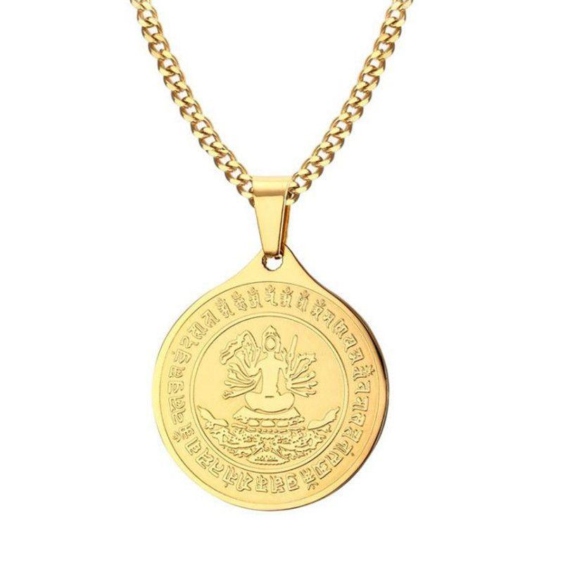 Pendentif en or en acier inoxydable mille main Quan Yin hommes couleur or religieux mille Mains Guanyin pendentif sinicisme bijoux cadeau