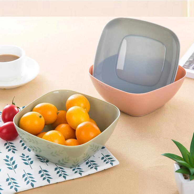 3 couleurs quare bols en plastique de qualité alimentaire bonbons noix snacks crême glacée salade bols titulaire assiettes assiettes vaisselle accessoires de cuisine