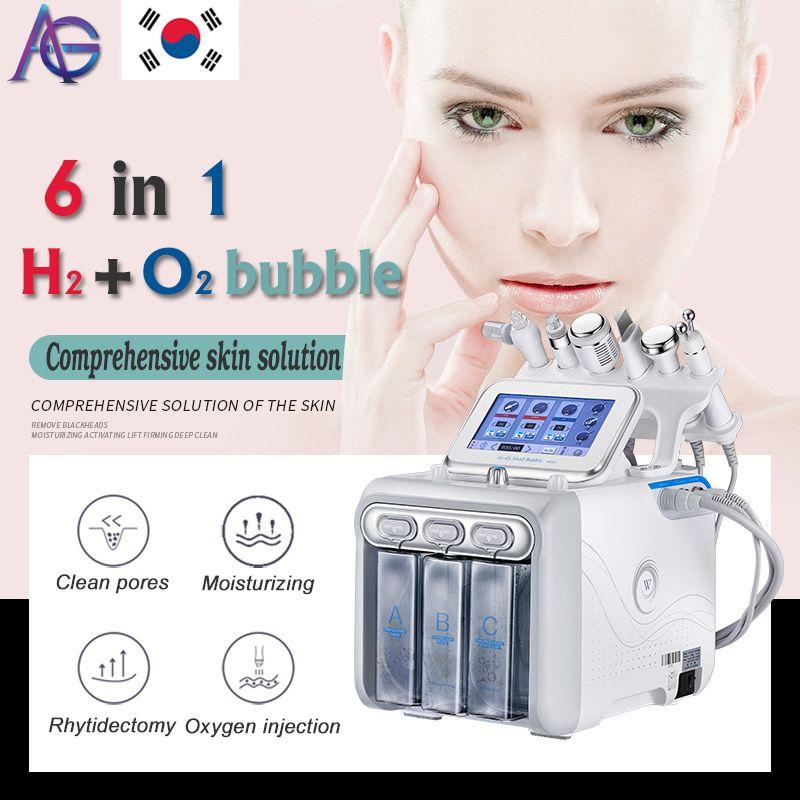 6 в 1 Н2-О2 Dermabrasion Гидры Аква пилинг RF био-лифтинг лица SPA гидро воды микродермабразии лица машина холодная молоток брызга кислорода