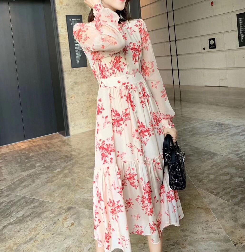 Milan Robe piste 2020 Printemps Eté col en V Lanterne manches Print Designer Marque Robe même style vestimentaire 0304-8