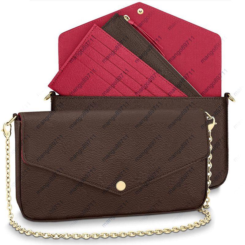Ombro Mulheres Bolsa bolsa forma 3pcs sacos de alta qualidade Sacola Tamanho 21/11/2 cm Modelo 61276 Carteira bolsas + presente