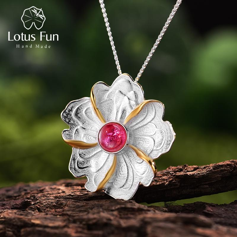 Lotus Fun Real 925 Sterling Silver Natural Tourmaline Handmade Fine Jewelry Peony Flower Pendant without Necklace for Women J190523