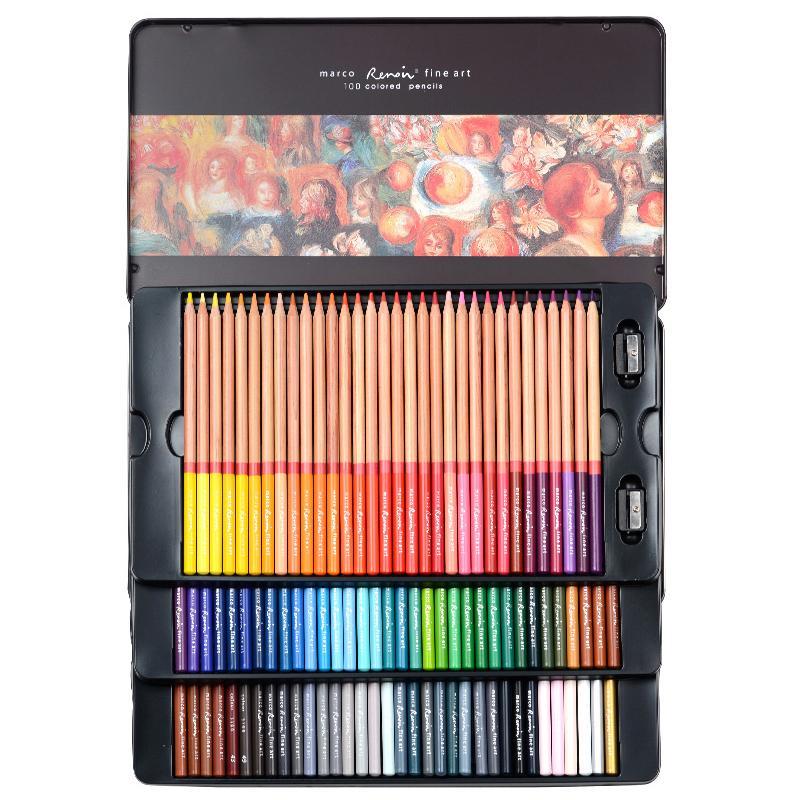 Marco Renoir Kunst 24/36/48/72/100 Professionelle Fettige Farbstiften kolorierte Zeichnung Bleistift Set Malzubehör für Schule Büro Y200428