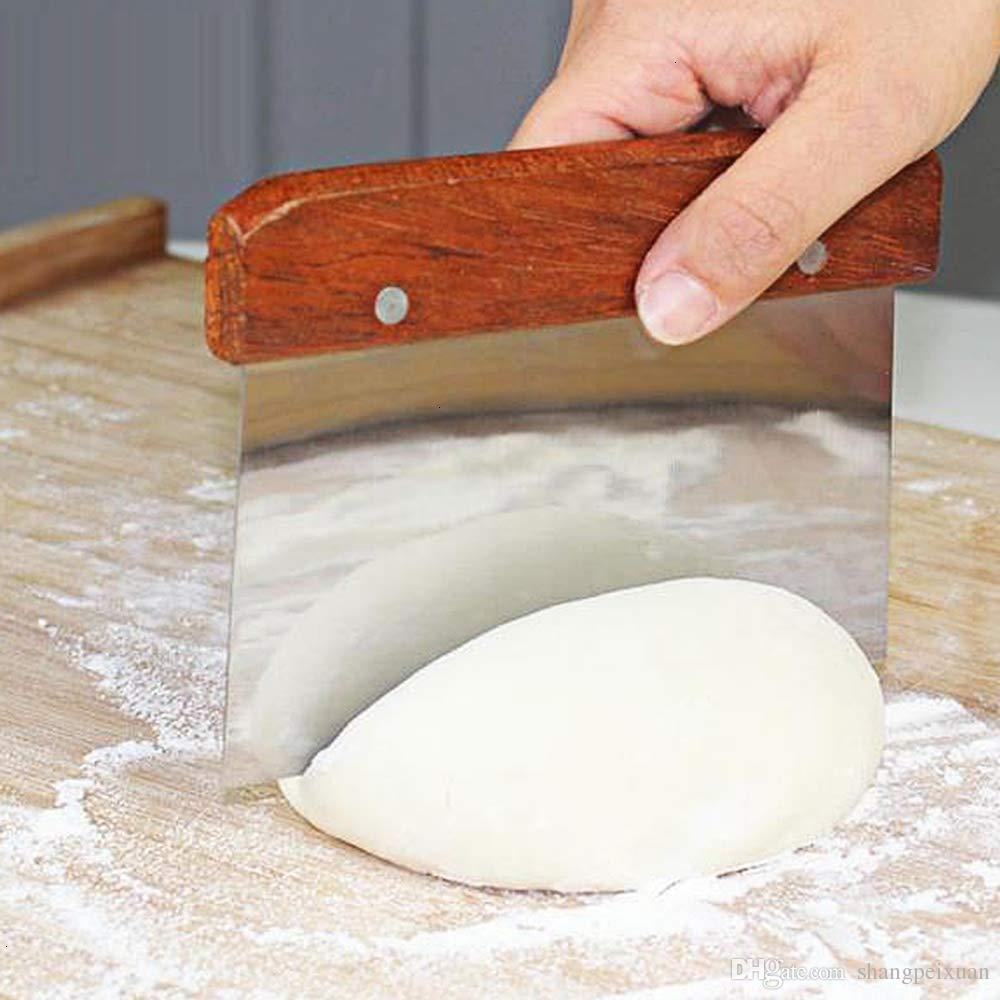 SHANGPEIXUAN Dough Cutter Stainless Steel Dough Pizza Cutters Pastry Scraper Dough Scraper Tools scraper cake knife with Redwood Handle