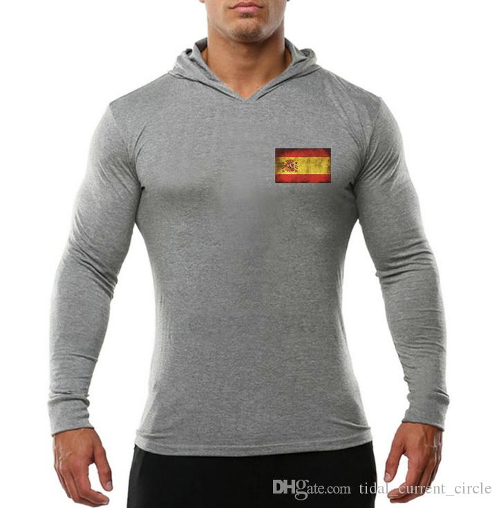 2019 gym hot Men's Wear Exercise and Fitness Hoodie Long sleeves Flag logo stamping Breathable Comfort Trend