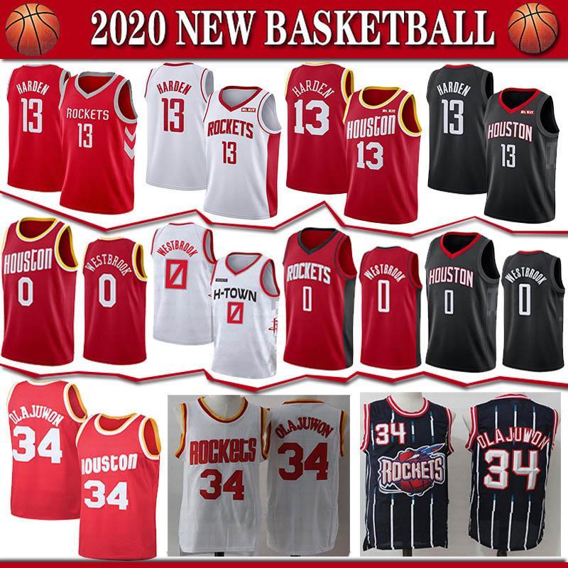 HoustonRoketjersey 0 Russell Westbrook 13, James Harden 34 Hakeem Olajuwon Yüksek kaliteli Basketbol formaları