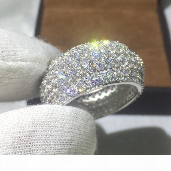 Vecalon luxe anneau femmes Pave fixé 320pcs Diamonique Cz or jaune 925 Rempli argent bague de mariage anniversaire pour les femmes hommes