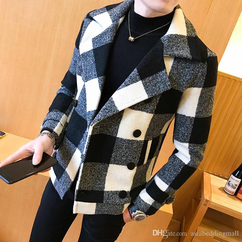 트렌드 2019 새로운 더블 브레스트 재킷 패션 복고풍 격자 무늬 코트 큰 사이즈 5XL 슬림 짧은 코트 남성의 연회 파티 드레스