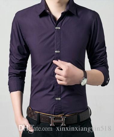 Весна и осень Мужская с длинным рукавом Тонкий корейских Повседневная мужская рубашка Бизнес Тренд молодежи рубашка S - 4XL