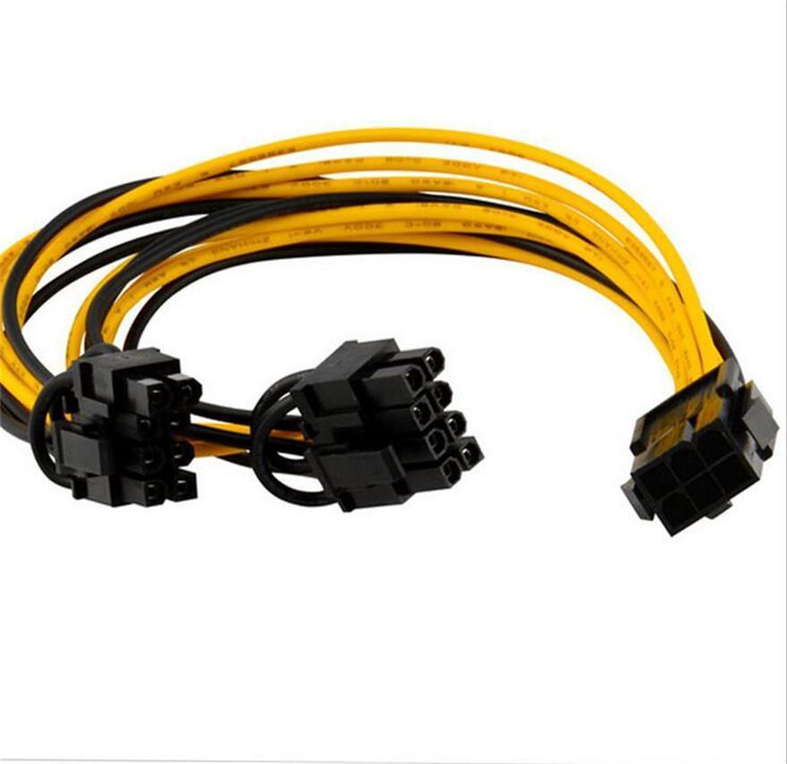 100 шт. PCIE 6PIN до двойного 8PIN (6 + 2) Y Splitter адаптер разъем Разъем питания кабель из провода 18awg для видеокарты