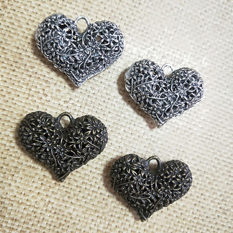 Orecchino di fascino Collana 3D Love Heart Box argento antico / bronzo antico fascino 30x40mm 10pcs /
