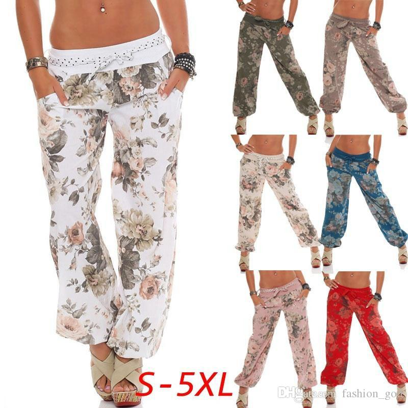 Çiçek Geniş Bacak Pantolon Kadın Flare Pantolon Yaz Baskılı Gevşek Elastik Kapriler Yoga Spor Pantolon Moda Harem Pantolon Uzun YFA1035 Slacks