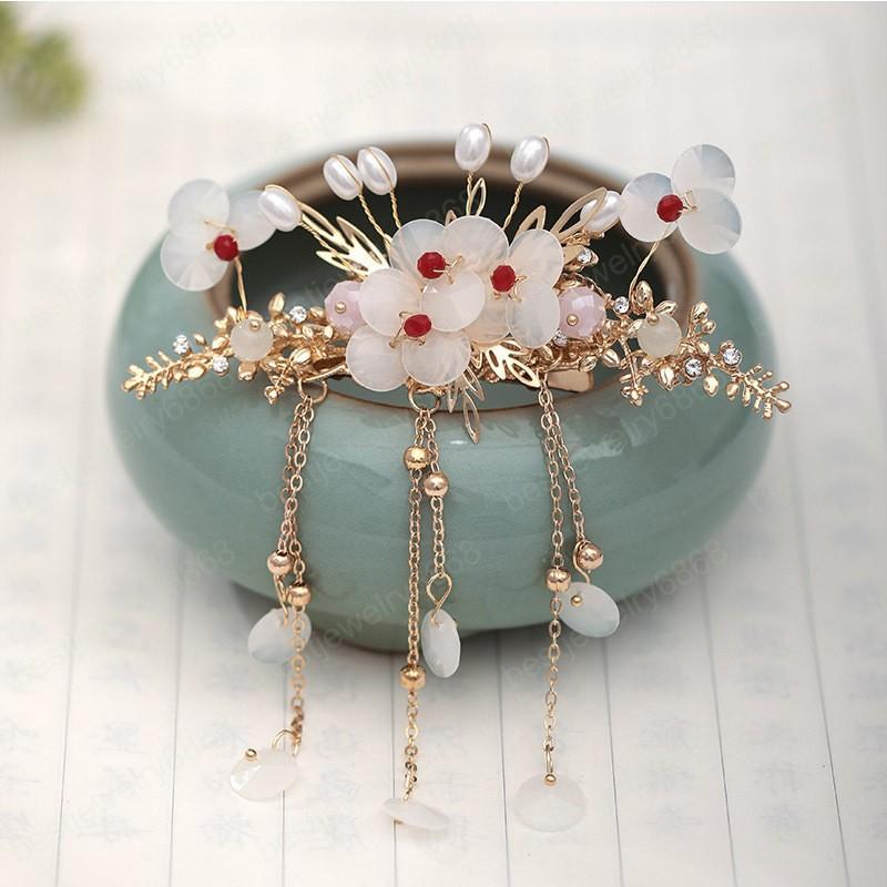 Forma di bellezza Vintage fascia sposa di colore dell'oro del fiore dei capelli clip gioielli Faux pendente della perla dei capelli della nappa Pin capelli delle donne