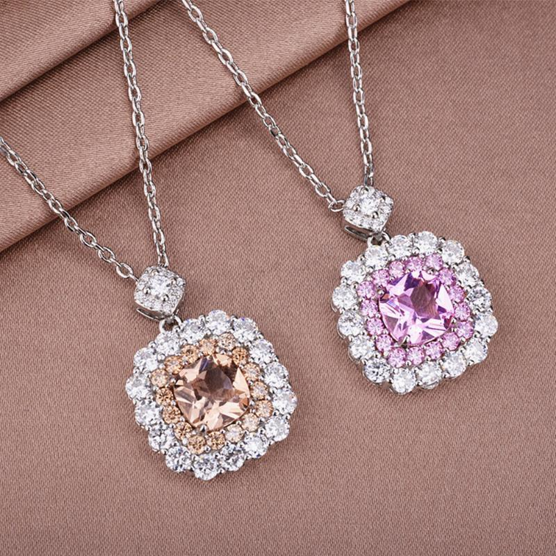 خمر أزياء الشمبانيا الكريستال الزركون الماس والأحجار الكريمة قلادة القلائد النساء 14K الذهب الأبيض اللون الفضي قلادة المجوهرات