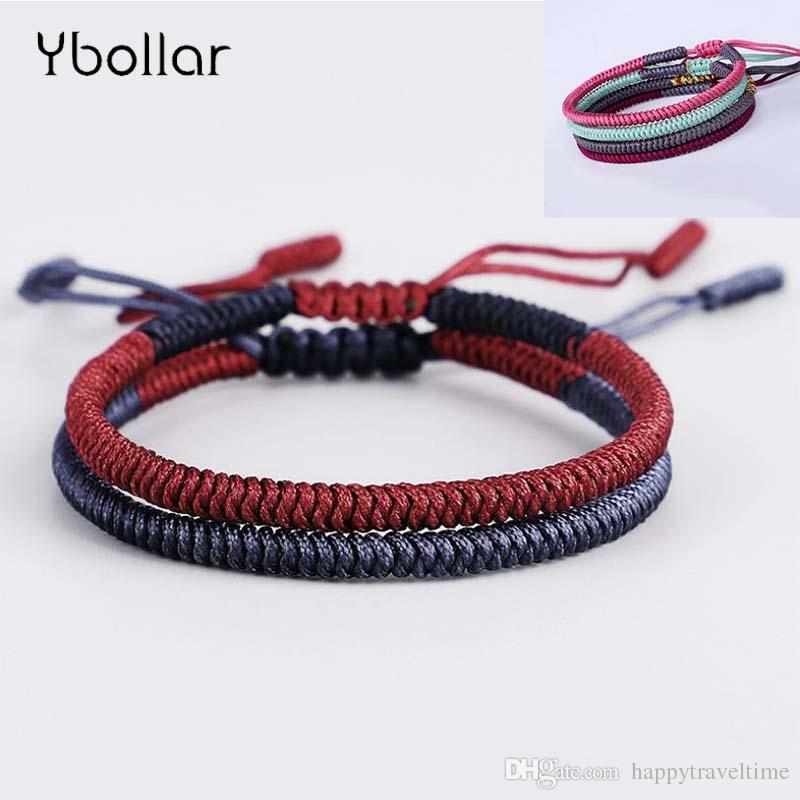 1pc 수제 티베트 불교 좋은 행운 매듭 로프 매력 팔찌 여성을위한 Bangles 팔찌 선물 쥬얼리
