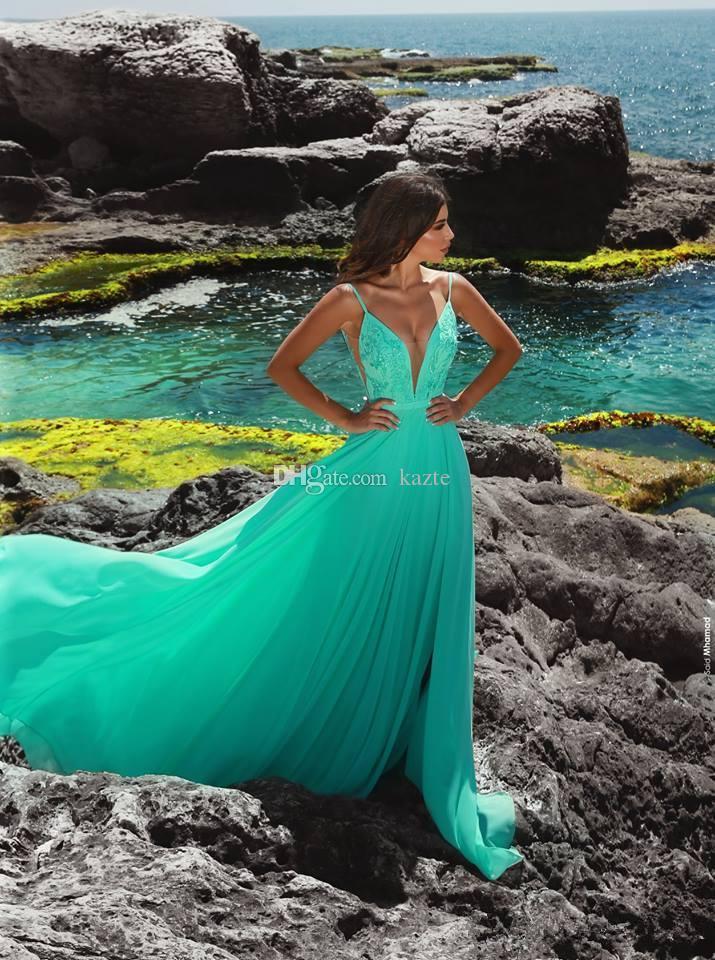Cheap Beach Special Occasion Dresses Part A Line Chiffon V Neck Sexy aqua green Prom Dresses Evening Wear Gown robe de cocktail 2019