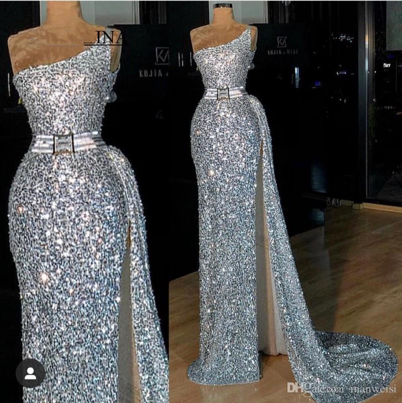 2K19 Silber Prom Kleider Pailletten afrikanischen Abendkleider eine Schulter rückenfreie bescheidene Partei besonderen Anlass Kleid Side Split