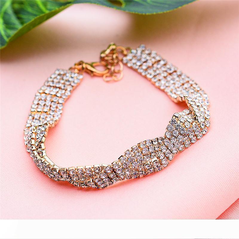 Femme Cristal Blanc Bracelet Pierre Dainty Zircon or Bracelets argent pour les femmes à la mode de mariée Infinity Bracelet mariage