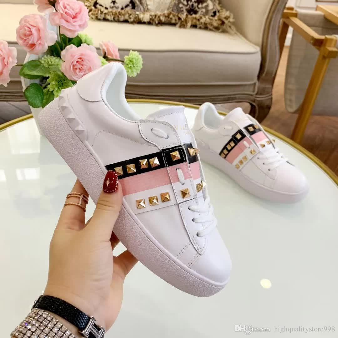 as últimas sapatas das mulheres 861ss couro genuíno Moda Rebites Branco mulheres sapatos baixos Casual esportes Qualidade Confortável respirável Sneakes