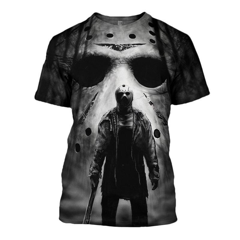 Os mais recentes Horror Homens Moda / Mulheres Halloween Michael Myers Harajuku Verão engraçado estilo 3D Impressão T-shirt Casual H248