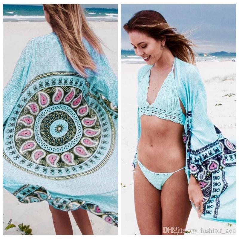 بوهيميا فضفاض بلوزة المرأة بيكيني شالات الصيف شاطئ التستر الأزياء الشيفون قمم أبلى مطبوعة ملابس طويلة الأكمام سموك YFA1085