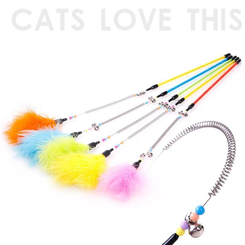 2019 новый стиль котенок кошка тизер интерактивная игрушка стержень с колокольчиком и перышком игрушки собаки кошки аксессуары
