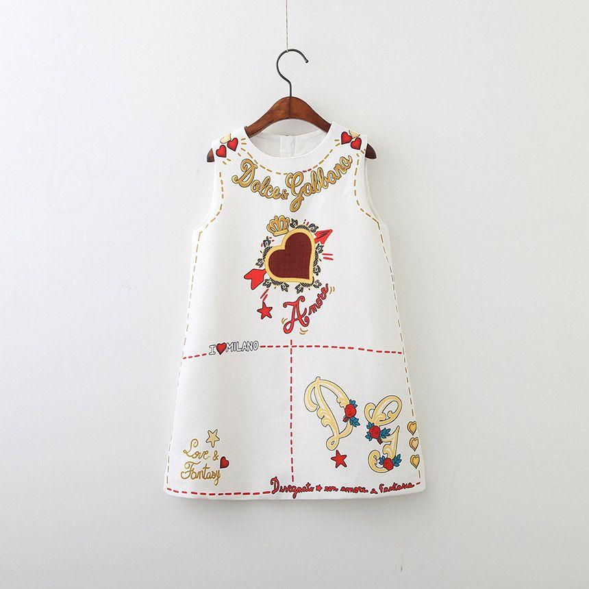 Everweekend Girls Sweet Vintage Love Print Party Dress Western Fashion Vintage White Black Color Cute Children Classic Fashion Dresses
