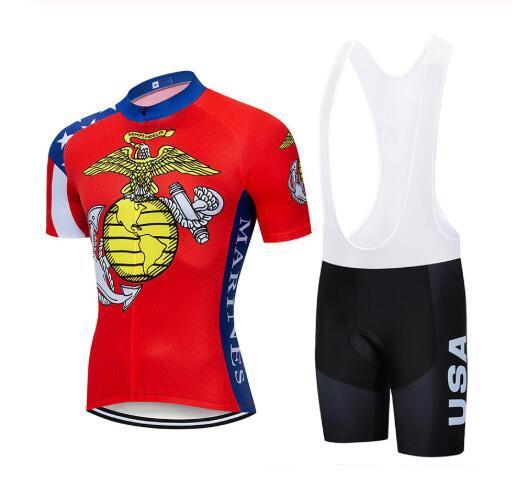 équipe américaine Maillot cyclisme manches courtes (bavette) short sets cyclisme vêtements VTT en plein air respirant Vélo de haute qualité