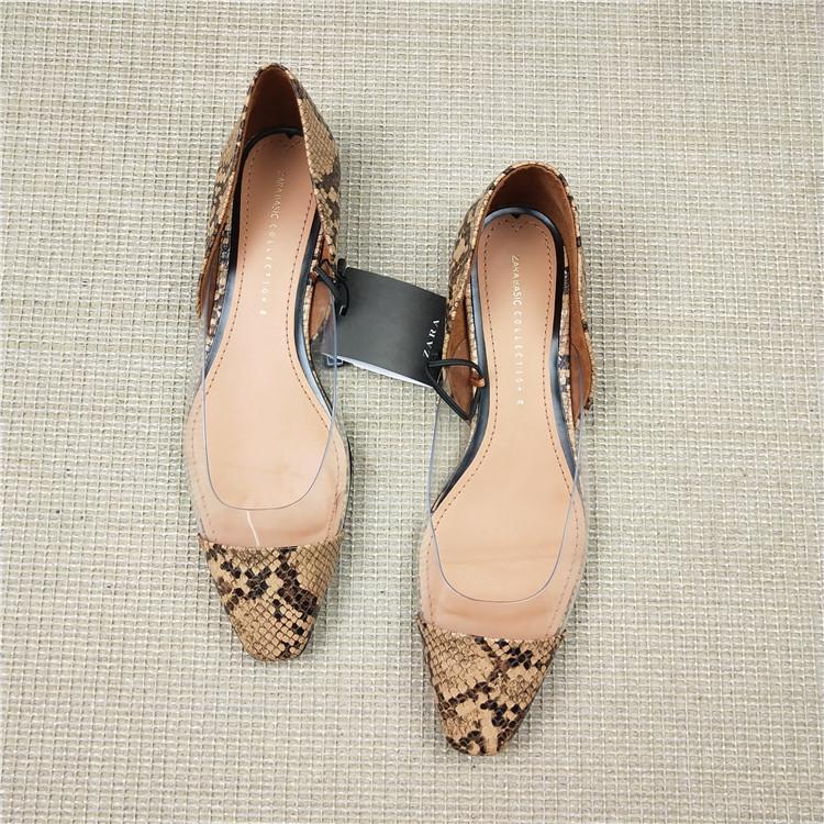 Yeni kare kafa kadın ayakkabısı dikiş yılan deseni şeffaf düz ayakkabı kadın vahşi sığ ağız büyük boy tek