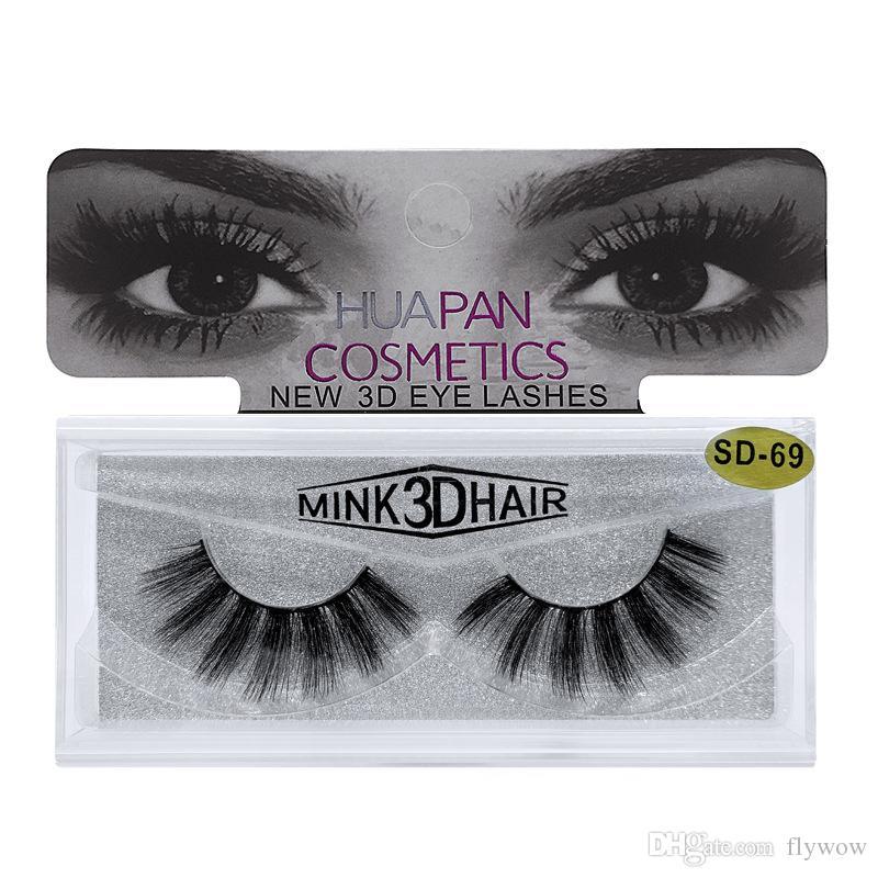 3D de múltiples capas gruesas pestañas de visón visón Lash pestañas falsas tiras de piel de visón para el maquillaje de ojos pestañas falsas pestañas de extensión herramienta de la belleza SD
