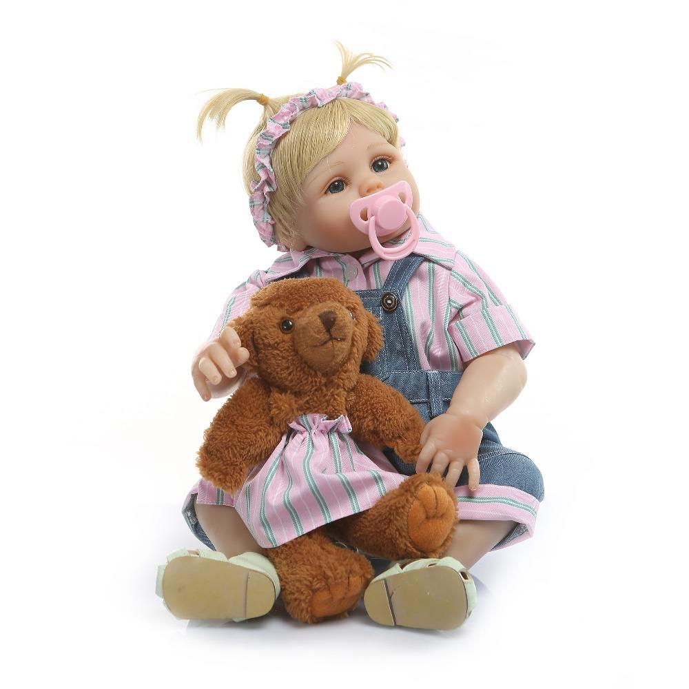 """Bebe reborn 19 """"48 cm Bonecas Reborn Baby Girl Completa Silicone Vinil Corpo Realista Princesa Bebês Boneca com Teddy bear Crianças Playmates Presente"""