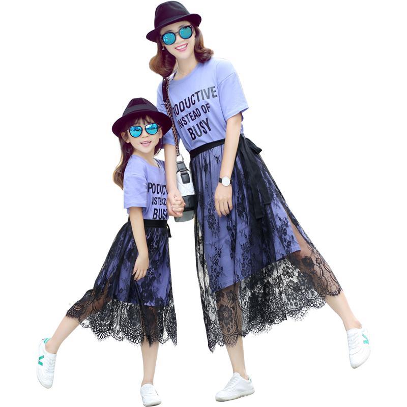 Yaz anne kızı elbiseler gündelik elbise aile eşleştirme giysi anne ve kızı