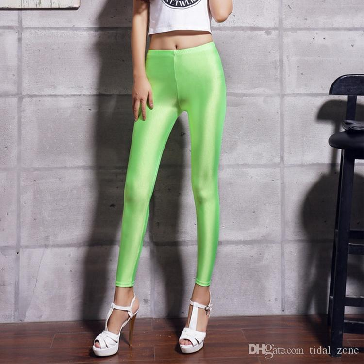 2019 new fashion personality Women's New Elastic Colour Gloss Slim Candy Fluorescent Pants Nine Score Underpants