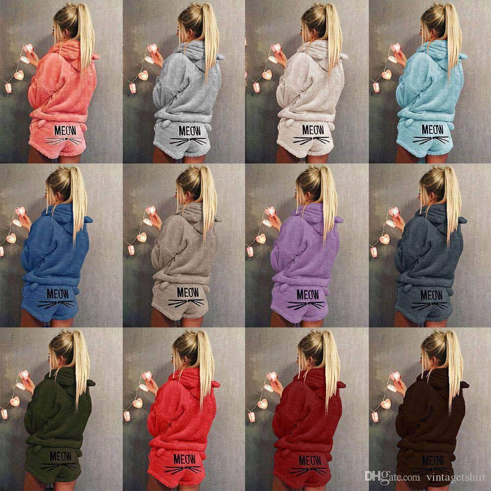 Women Pajama Sets Fashion Hoodies Shorts Cute MEOW Cat Designer Flannel Suits Sleepwear