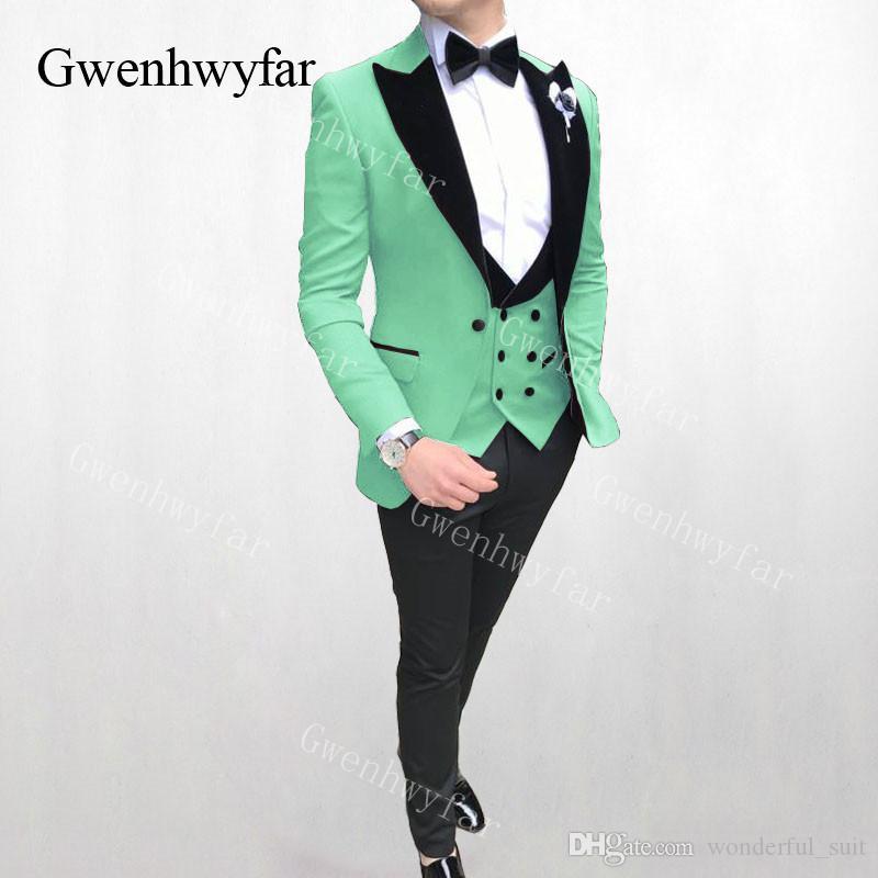 Gwenhwyfar Açık Yeşil Kadife Yaka Takım Elbise Düğün Kutlama Parti Balo Erkek Takım Elbise Moda Iş Bir Düğme Erkek 3 Pics Suits