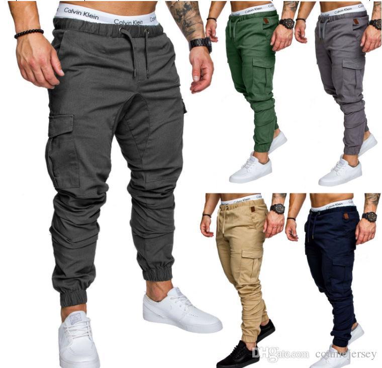Mens Joggers Sweatpants Casual Men Trousers Overalls Military Tactics Pants Elastic Waist Cargo Pants Fashion Jogger Pants