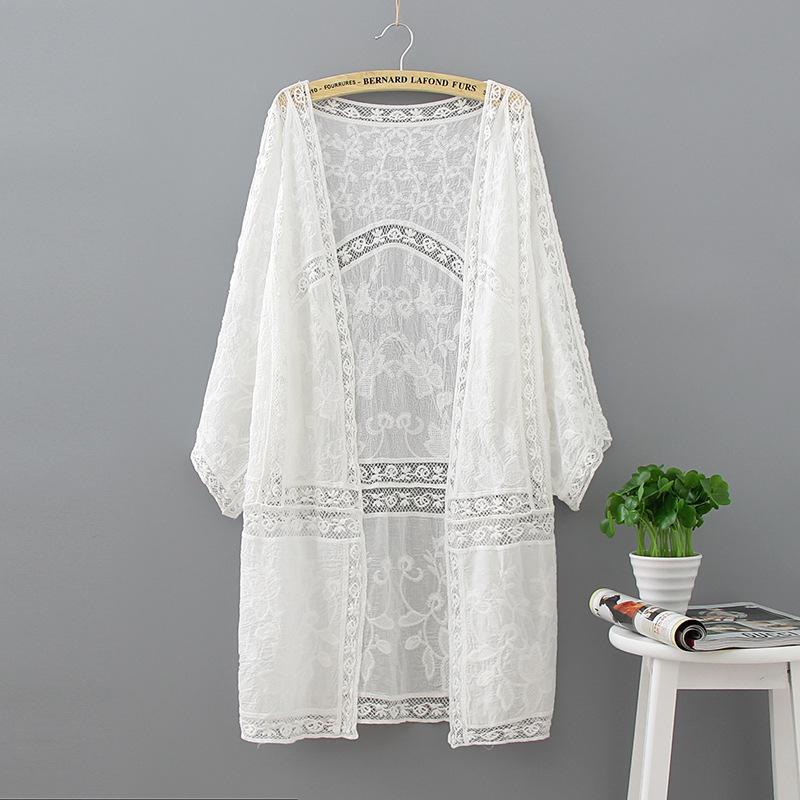 자수 긴 기모노 여름 패션 캐주얼 화이트 셔츠 여성 의류 배트 윙 슬리브 느슨한 블라우스 기모노 가디건 탑