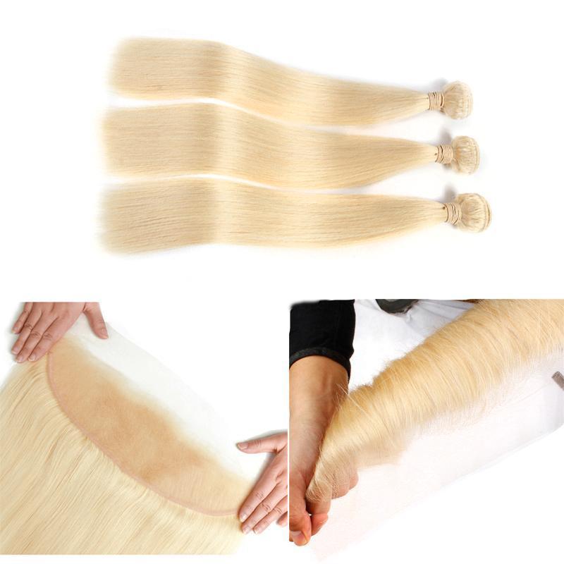 Miele 613 Biondo 3 Capelli bundle con Pizzo frontale peruviana diritta Pre a pizzico con capelli del bambino 100% reale estensioni dei capelli umani