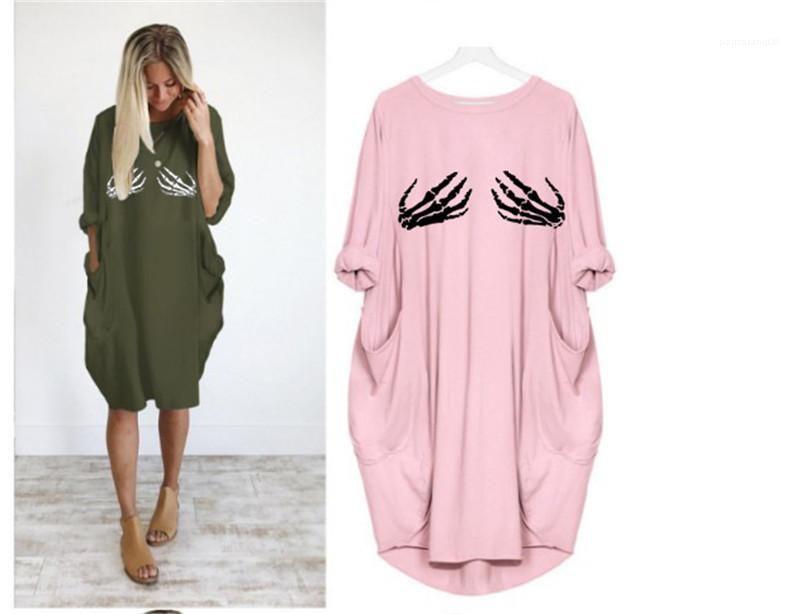 Katı Renk Gevşek Günlük Elbiseler İki iskeletleri Uzun Kollu Dişiler Giyim Artı Ölçekli Bayan Yaz Tasarımcı Elbise yazdır