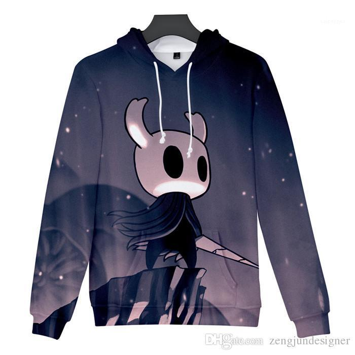 Print Mens Hoodies Long Sleece Pullover Crew Neck Homme Clothing Fashion Style Casual Apparel Hoollow Knight 3D